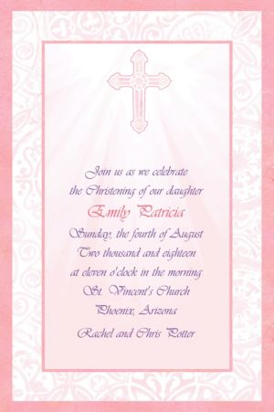 Custom Pink Radiant Cross Religious Invitations