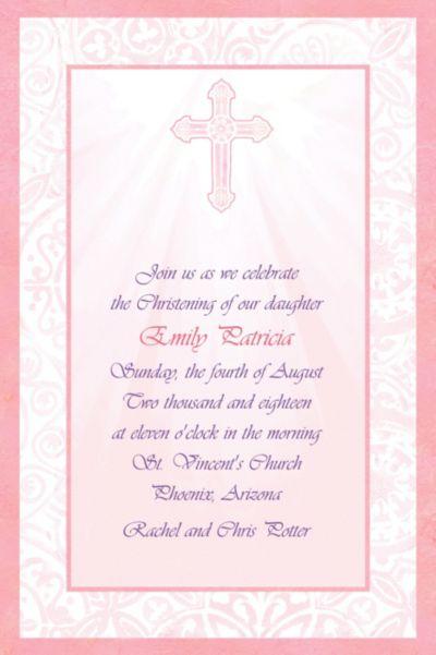 Custom Pink Radiant Cross Religious Invitations