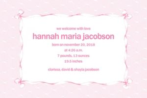 Custom Pink Lace & Bows Birth Announcements