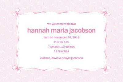 Pink Lace and Bows Custom Birth Announcements
