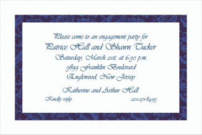 Narrow Navy Damask Custom Invitation