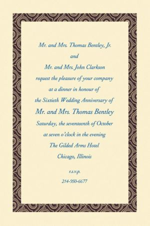 Custom Black Moroccan Border Ecru Invitations