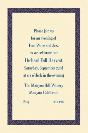Custom Navy Moroccan Border Ecru Invitations