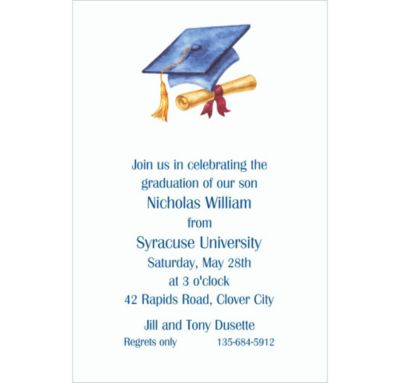 Cap & Diploma Blue Custom Invitation