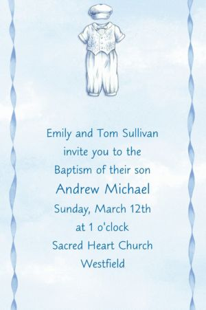 Custom Christening Suit on Blue Invitations