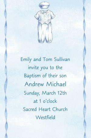 Custom Christening Suit on Blue Invitations