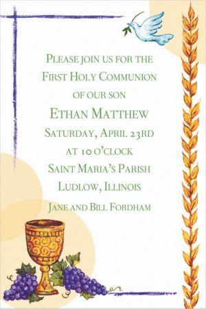 Custom Chalice with Dove and Grapes Invitations