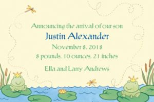 Custom Happy Frogs Birth Announcements