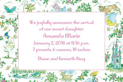 Custom Fairytale Toile Birth Announcements
