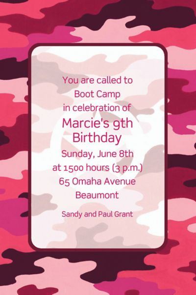 Custom Pink Camouflage Invitations