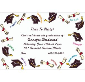 Custom Black Tossed Grad Caps Graduation Invitations