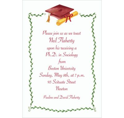 Custom Crimson Mortarboard & Ivy Graduation Invitations