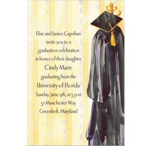 Custom Black Gown Graduation Invitations