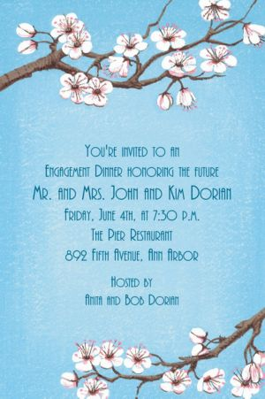 Custom Pink Cherry Blossoms Invitations
