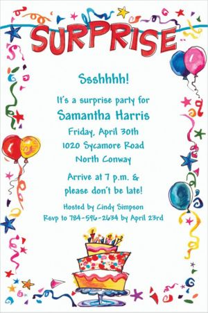 Custom Surprise String Banner Invitations