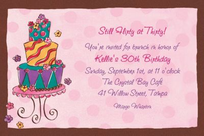 Custom Girly Cake Birthday Invitations