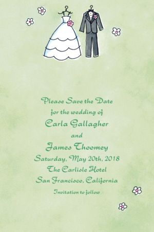 Custom Bride & Groom Outfits Bridal Shower Invitations