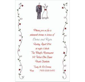 Custom Little Outfits & Vines Wedding Invitations