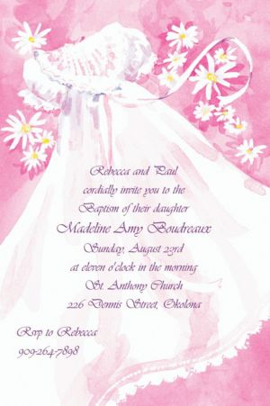 Custom Christening Gown & Flowers Invitations