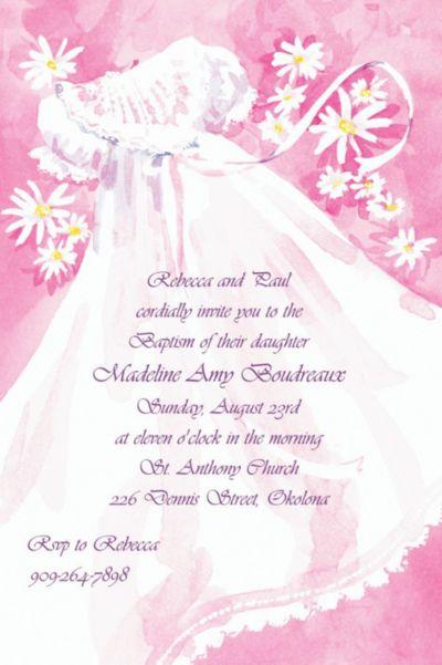 Christening Gown & Flowers Custom Invitation