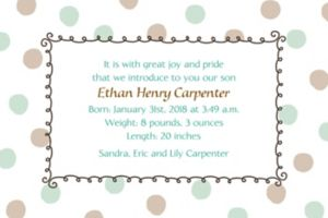 Custom Green Dots Border Birth Announcements