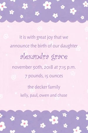 Custom Dainty Flowers & Scallop Birth Announcements