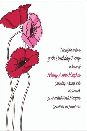 Custom Pretty Poppy Stems Invitations
