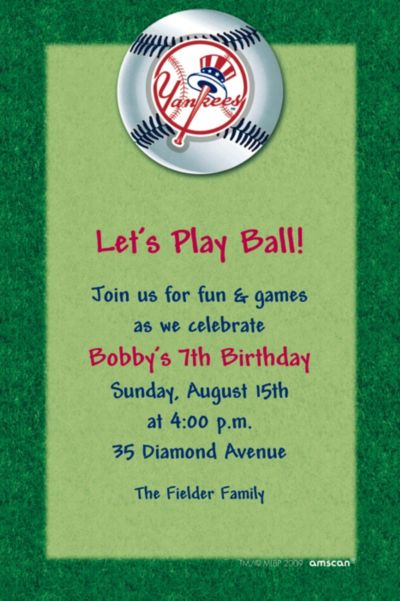 Custom New York Yankees Invitations