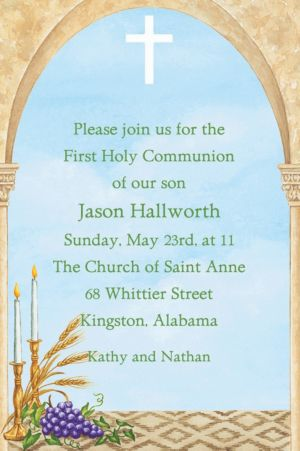 Custom Cross, Candles and Wheat Invitations