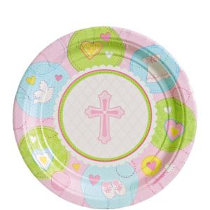 Pink Sweet Religious Dessert Plates 8ct