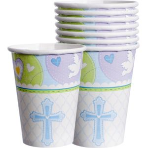 Blue Sweet Religious Cups 8ct