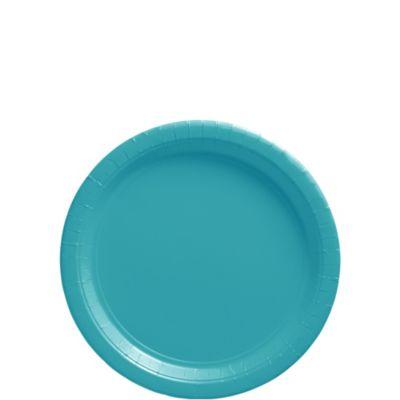 Caribbean Blue Paper Dessert Plates 50ct