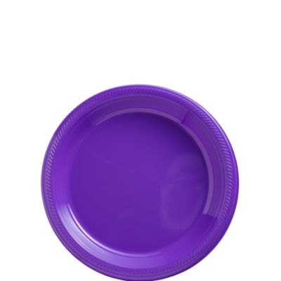 Purple Plastic Dessert Plates 50ct