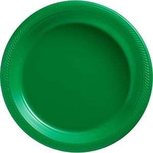 Big Party Pack Festive Green Plastic Dinner Plates 50ct
