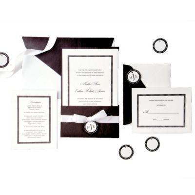 Classic Black White Pocket Printable Wedding Invitations Kit 25ct