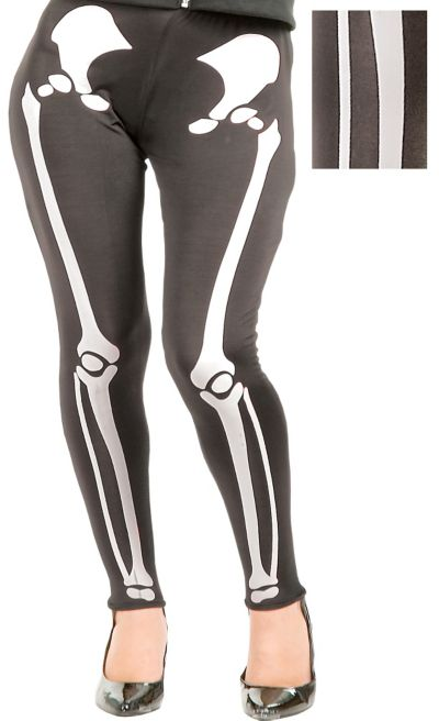 Adult White Skeleton Leggings Plus Size