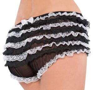 Adult Black and White Lace Ruffle Panty