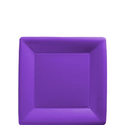 Purple Paper Square Dessert Plates 20ct