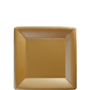 Gold Paper Square Dessert Plates 20ct