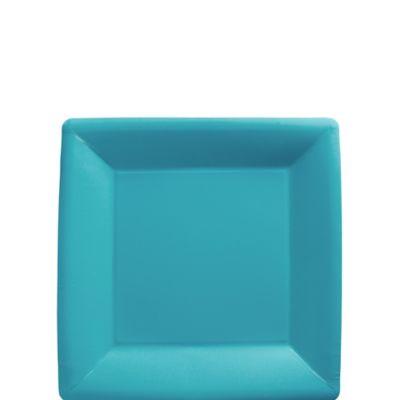 Caribbean Blue Paper Square Dessert Plates 20ct