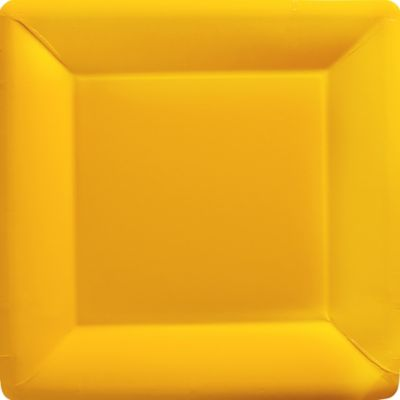 Sunshine Yellow Paper Square Dinner Plates 20ct