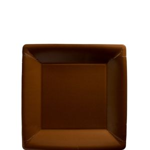 Chocolate Brown Paper Square Dessert Plates 20ct