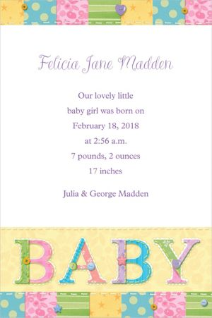 Custom Cute As A Button Birth Announcements