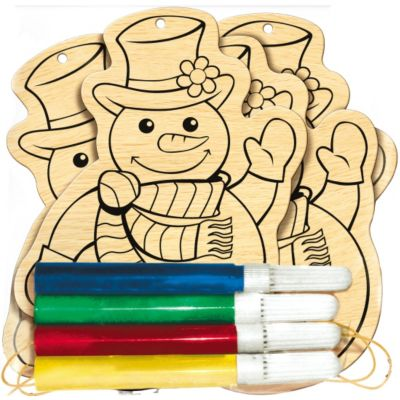 Snowman Wood Ornament Activity Kit 4ct