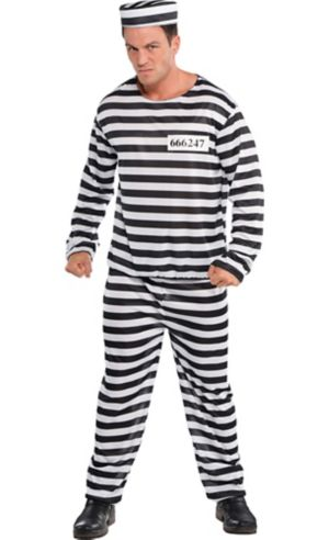 Adult Jail Bird Convict Prisoner Costume