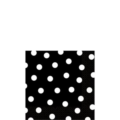 Black Polka Dot Beverage Napkins 16ct