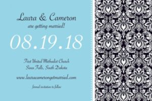 Custom Decorative Damask Teal Invitations