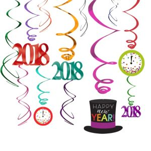 Colorful Happy New Year Swirl Decorations 12ct