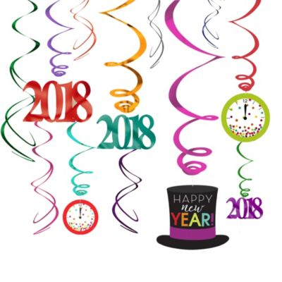 Colorful 2015 New Year's Swirl Decorations 12ct
