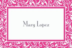 Custom Bright Pink Ornamental Scroll Thank You Notes